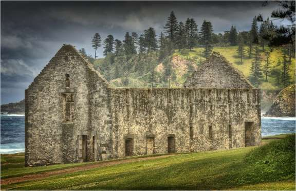 The Crankmill, A very historic ruin in the convict built area of Kingston, Norfolk Island. -