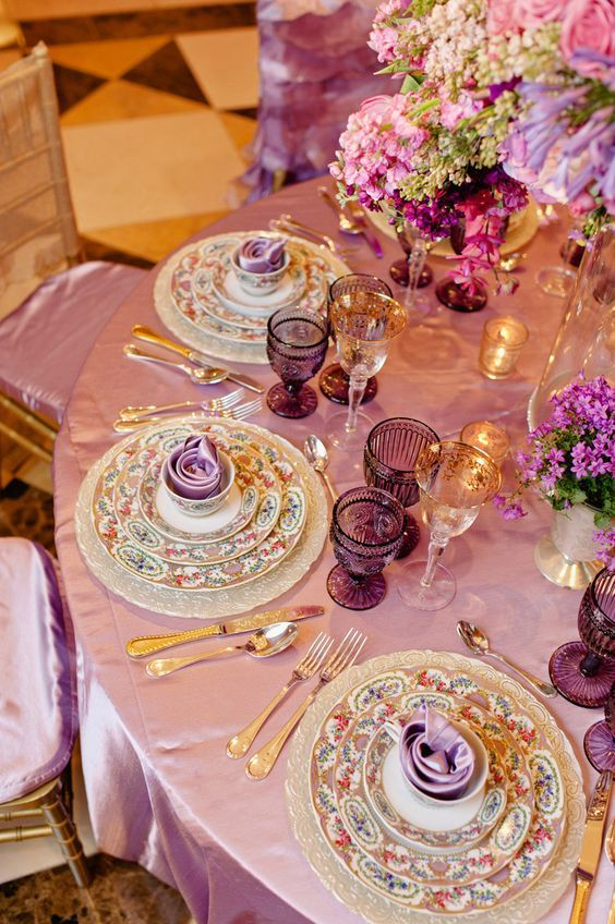 27 best images about Purple and Gold Table Settings on ... |Pink And Purple Table Setting