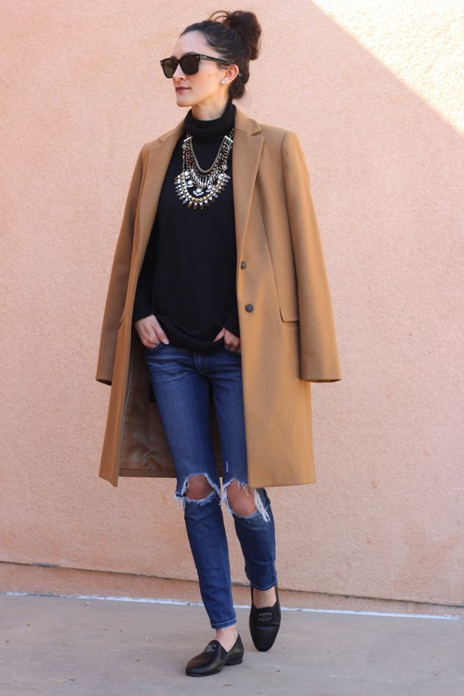 Camel Coat, statement necklace, ripped jeans