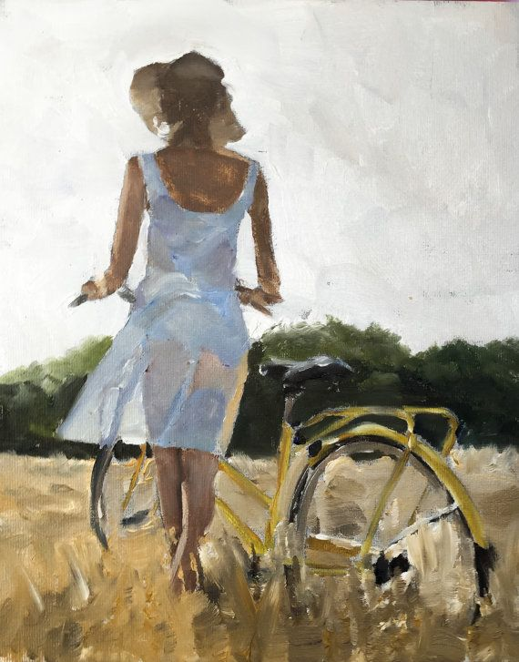 Girl in White Dress with Bicycle - Art Print - 8 x 10 inches - from original painting by J Coates
