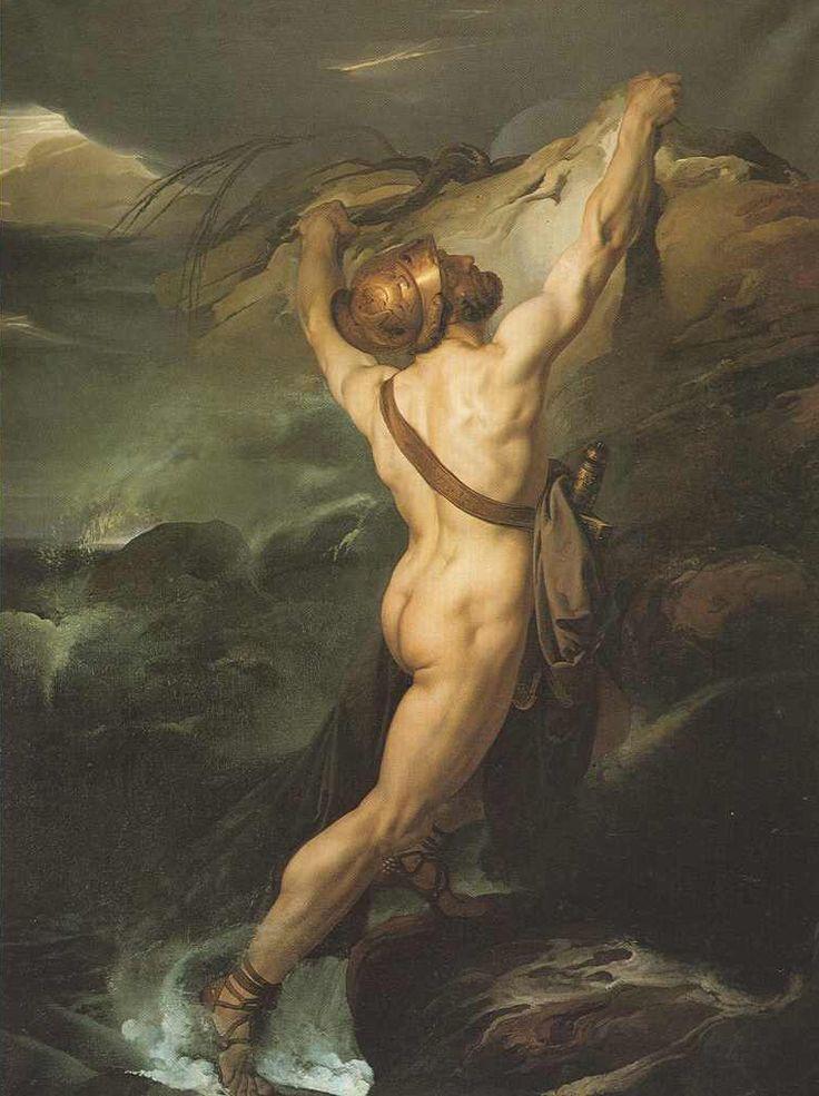 • Francesco Hayez - Ajace d'Oileo naufrago s'aggrappa ad uno scoglio imprecando gli Dei (1822). Gallerie d'Italia.