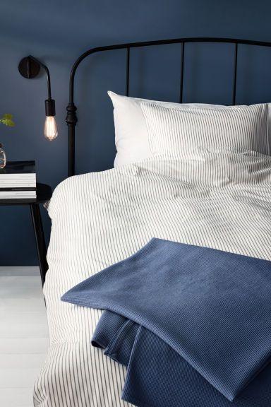 Хлопковое постельное белье - Белый/Серая полоска - HOME   H&M RU 1