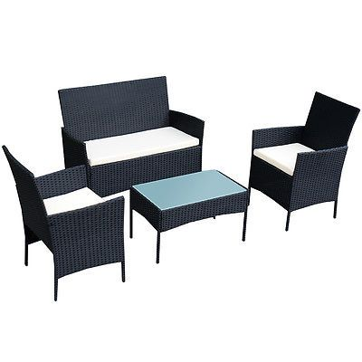 4 PC Outdoor Rattan Furniture Set Loveseat Sofa Cushioned Patio Garden Steel NEW
