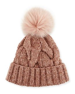 D0ZA6 Loro Piana Cable-Knit Fur Pom-Pom Hat