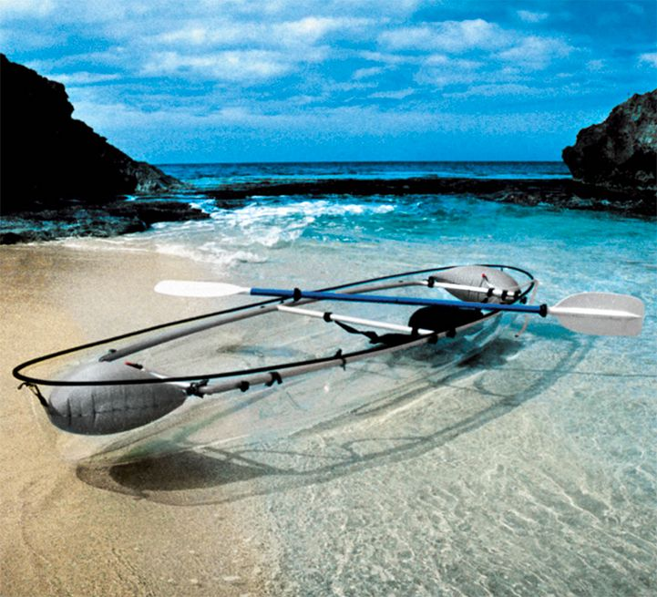 This transparent canoe offers incredible views of the ocean below.