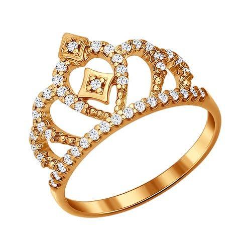 """Позолоченное кольцо """"Корона"""", арт. 93010366"""
