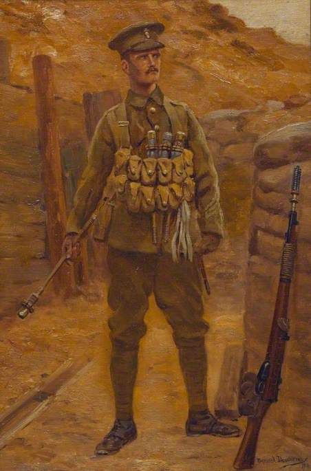 A British Soldier by Raymond Desvarreux. Date painted: 1916.