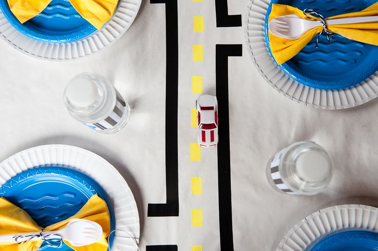 LETTUCE & CO - STYLE. EAT. PLAY. 'vroom' - sharp and modern race car party, place setting, table art, road and street tablescape, event styling & theming