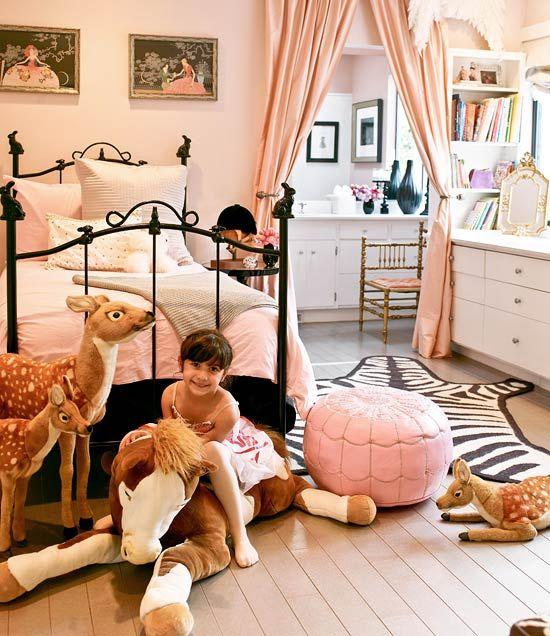 Black Bed Pink Sheets Zebra Rug White Dresser, Little Girls Room Bedroom  Decorating Ideas: