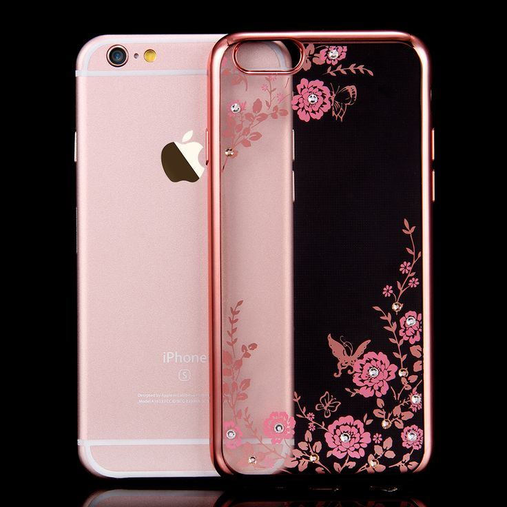 FLOVEME Flora Diamond Silicon Case for iPhone 7 /6 /6S for iPhone 7/6/6S Plus Chic Flower Bling Soft TPU Clear Phone Back Cover ** Learn more by visiting the image link.