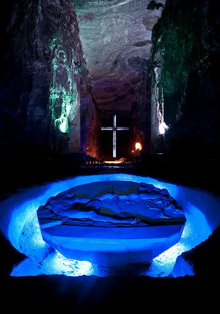 "Zipaquirá is the ""Salt Cathedral"" outside Bogota, Colombia. You have to walk 1.5km underground to reach this chamber."