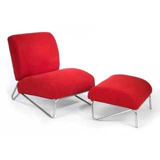 The Easy Rider Red Microdenier Chair/ Ottoman | Overstock.com Shopping - Great Deals on Living Room Chairs