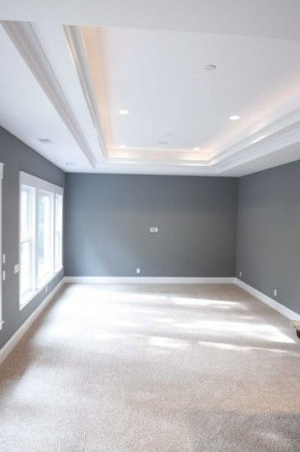 grey walls, beige carpet, white trey ceiling