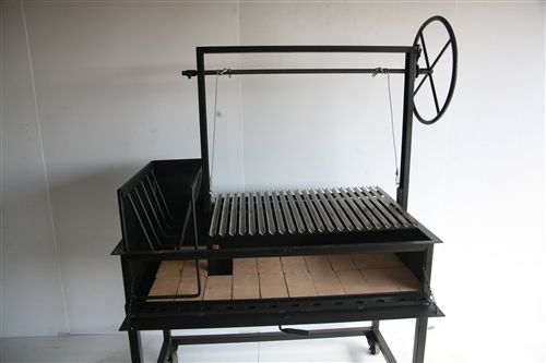 Argentine Grills are designed to allow close temperature control during grilling. Argentine Grills also channel fat away from the fire to a drip pan preventing flareups which damage the flavor of meat. Argentine Grills are used with charcoal or wood.