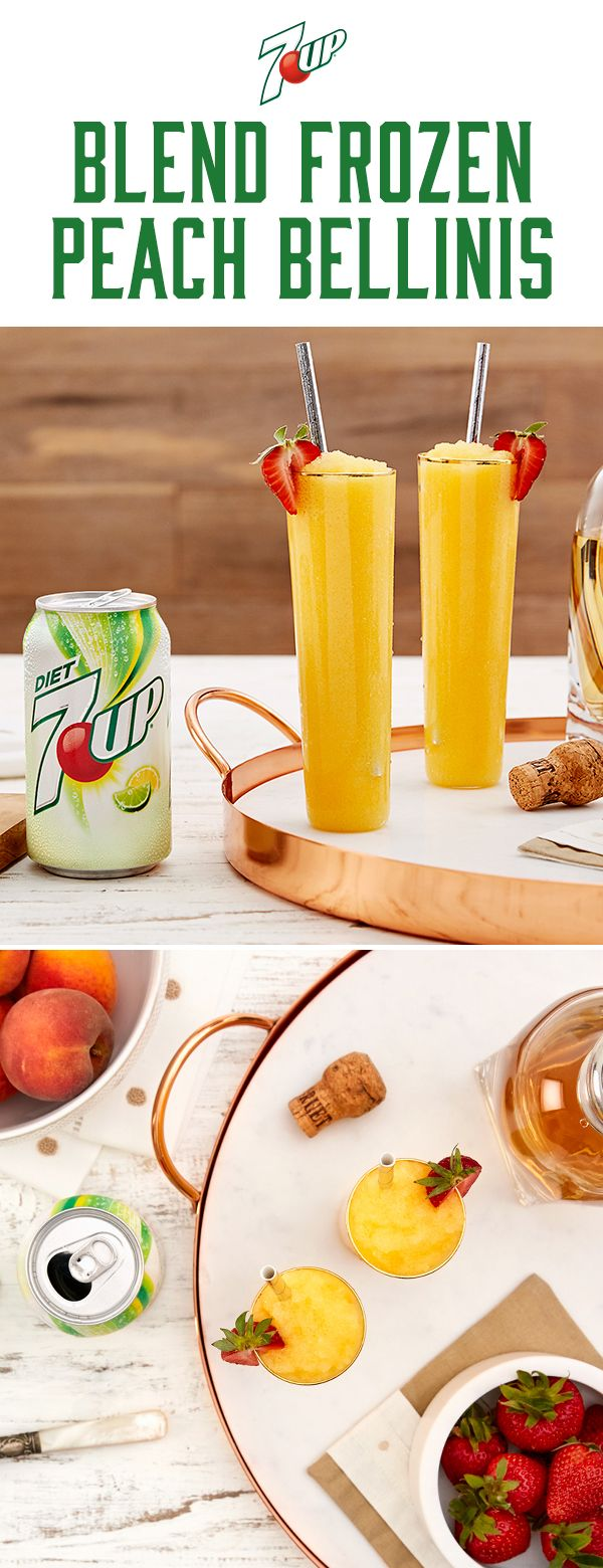 Cool down this summer with a refreshing 7UP Frozen Peach Bellini. Mix freely, drink responsibly.