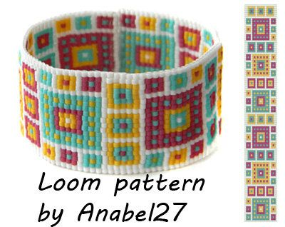 Bead loom pattern  Square stitch pattern  door ColorfulBeadPatterns