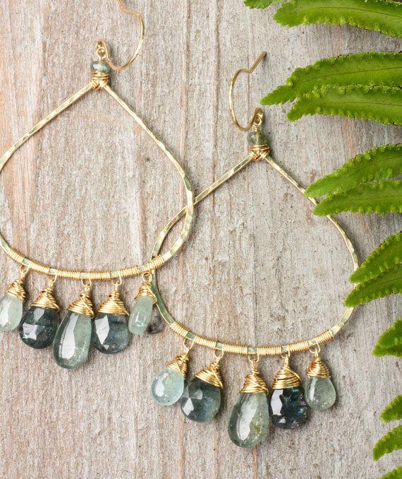 The Ferla Earrings~ Moss Aquamarine Chandelier earrings