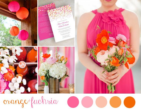 Orange and fuchsia wedding