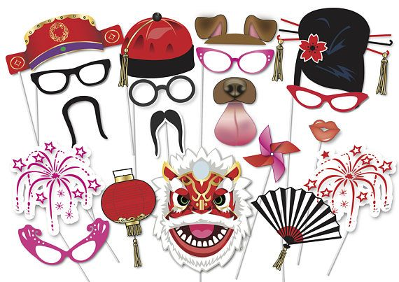 Here is the ultimate collection of Chinese New Year party photo booth props! Tons of Fun!! Great for a table centrepiece or Photo booth! Contains 35 pieces: ♥ Funny glasses ♥ Chinese hats ♥ Chinese moustaches ♥ Chinese hairstyles ♥ party whistle ♥ fire works ♥ Dog Ears ♥ Dog Tongue ♥