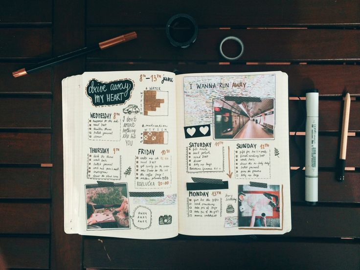 "journalsanctuary: ""My travel/road trip themed spread. Yeah, I'd really love to go on a road trip if you can't tell…  """