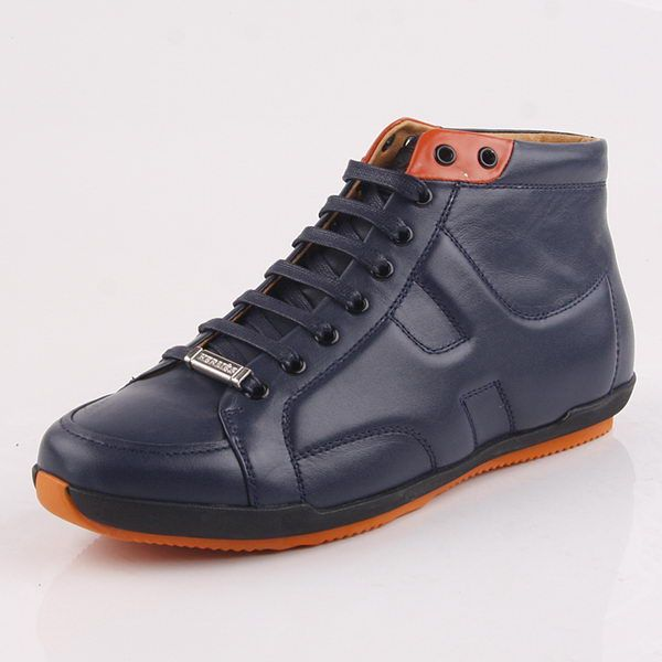 Hermes Calfskin Leather Men Casual Shoes HO0361 Royal