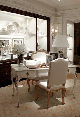 Ralph Lauren's Madison Avenue Women's Collection Boutique.  Black. White. Office