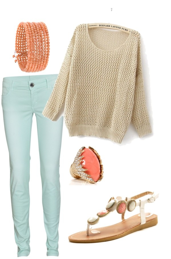 mint jeans and beige sweater with coral accessories!