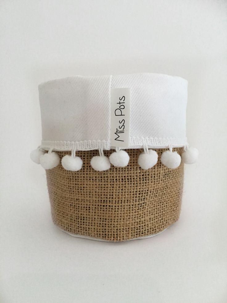 White, Hessian & Pom Pom   Miss Pots