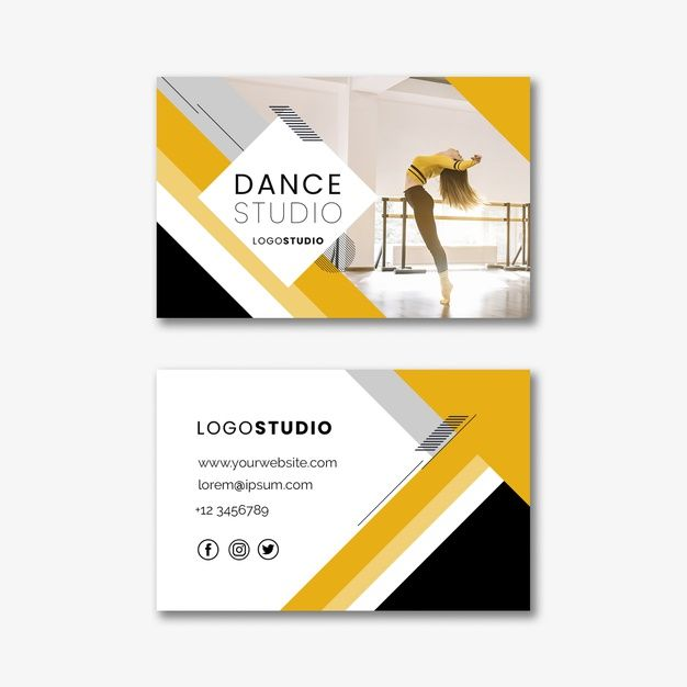 Business Card Template With Dance Studio Business Card Template Business Card Mock Up Download Business Card