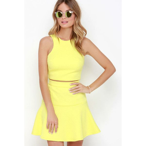 Grow to Glow Yellow Two-Piece Dress ($62) ❤ liked on Polyvore featuring dresses, yellow dress, yellow cocktail dress, ruffle dress, flare dress and drop waist dress