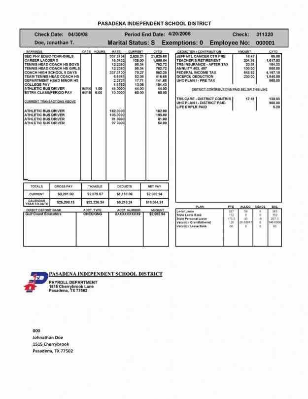 how much an employee earned and doc  pay stub template