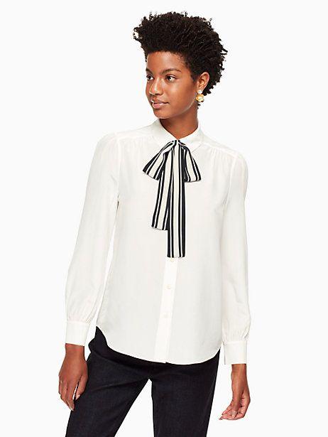 Kate Spade Stripe Tie Front Shirt, Cream - Size XL