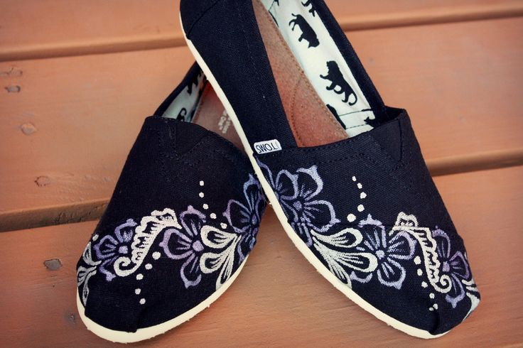 Womens - Floral Vine Henna Custom Painted TOMS Shoes. $100.00, via Etsy.