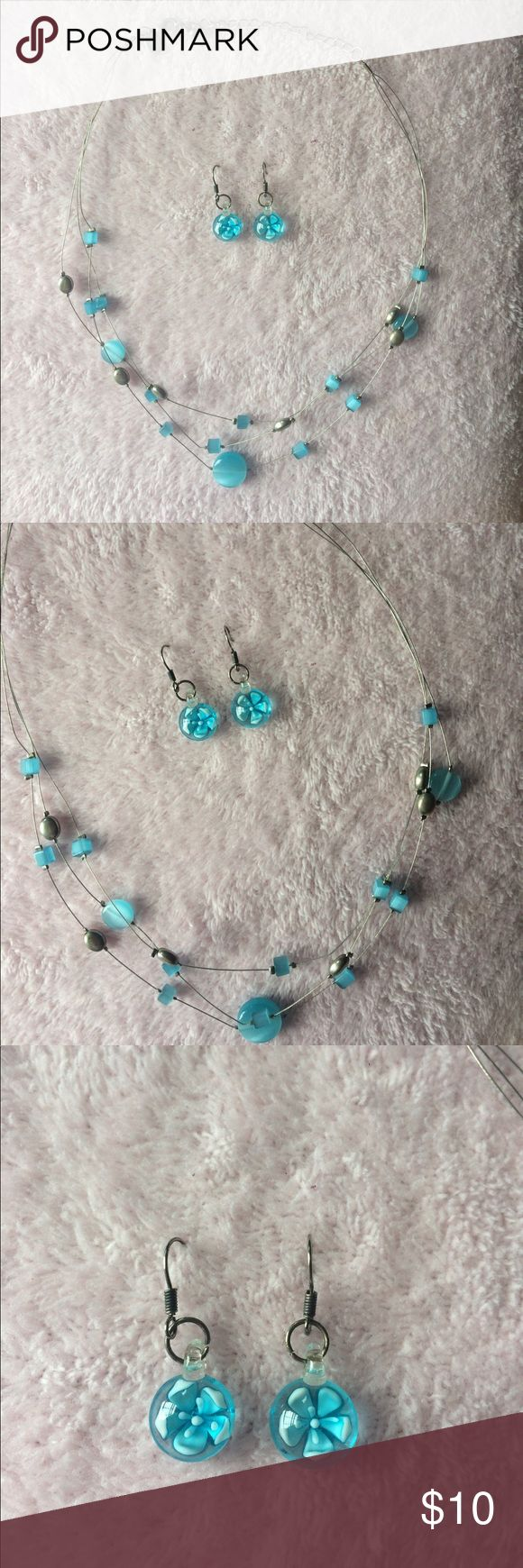 Lia Sophia Necklace and Earring Bundle! 曆 This is a baby blue and sterling silver necklace and earring bundle by Lia Sophia! Never worn!  Lia Sophia Jewelry