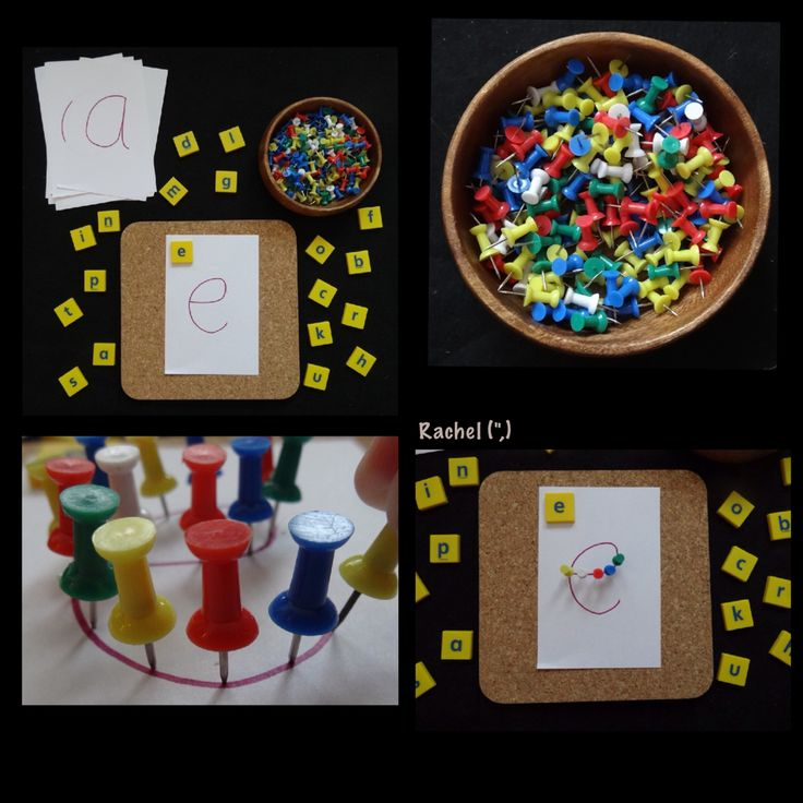"""Letters and push pins - letter recognition, fine motor skills and hand-eye coordination from Rachel ("""",)"""