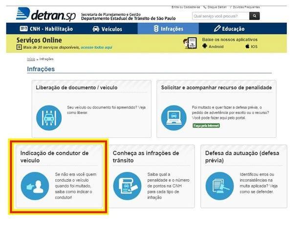 Indicação de condutor em site do Detran-SP não vale para multa da CET +http://brml.co/28MVuTI