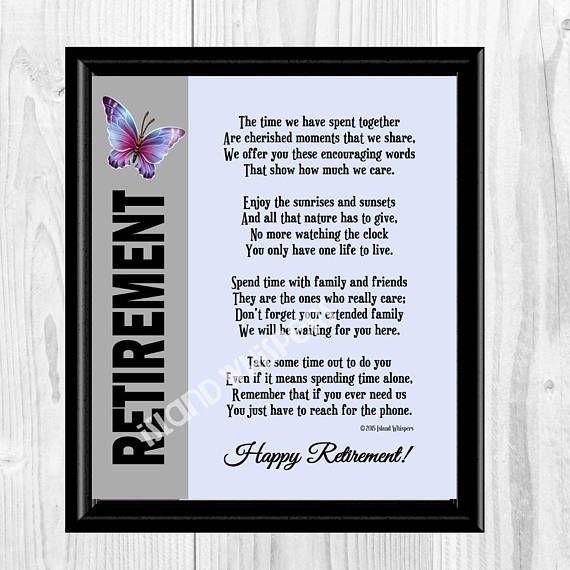 Retirement Poem Retirement Gift Co Worker Retirement Boss Retirement Friend Retirement Gift