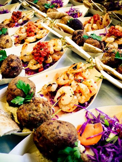 An incredible feast for your guests.  Perfect little plates for outdoor dining.