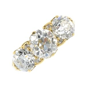 A late 19th century 18ct gold diamond three-stone ring