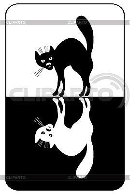 Черно-белые кошки   Векторный клипарт   ID 3064977
