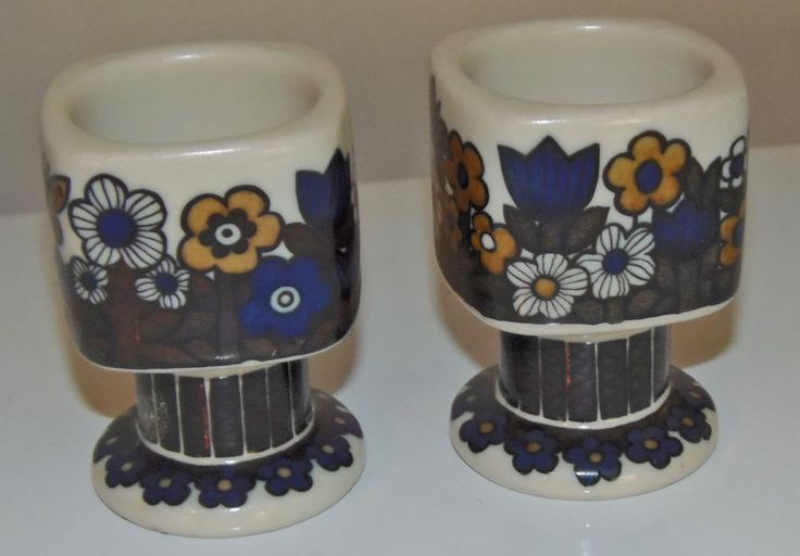 1980 ARABIA FINLAND KALEVALA ANNUAL EGG  CUPS ~ SET OF 2 ~ RAIJA UOSIKKINEN  #ARABIA
