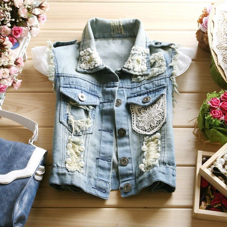 women autumn fashion turn down collar denim waistcoat lace and bead decorate sleeveless denim vest lace beading vest-inVests  Waistcoats from Apparel  Accessories on Aliexpress.com