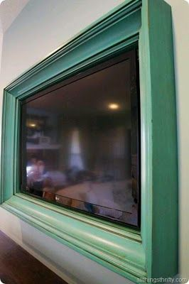 framed flatscreen... If you put a retractable print in front of it, you have both a work of art and a tv that's not always just a big black rectangle when you're not watching it!