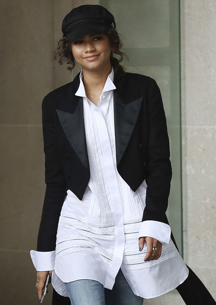 Zendaya pairs a Burberry tuxedo jacket with a white wing collar shirt whilst promoting Spider-Man Homecoming at BBC Radio One in London