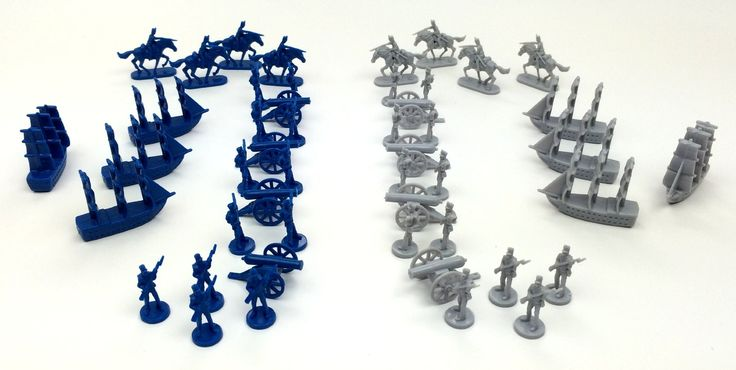 Civil War Toy Soldiers: Set of 48 Union Blue and Confederate Grey Army Men Miniatures- Infantry, Cavalry, Artillery Cannons, and Naval Ships. 24 infantry, 8 artillery, 8 cavalry, 8 ships. High quality blue and grey plastic. Civil War military miniatures. Game pieces from VIKTORY II board game. Paintable figurines.