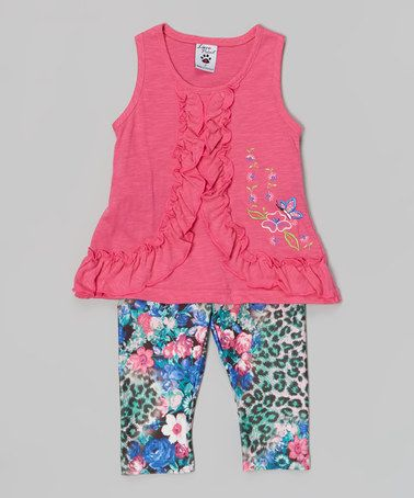This Pink Ruffle Tank & Flower Leggings - Toddler & Girls is perfect! #zulilyfinds
