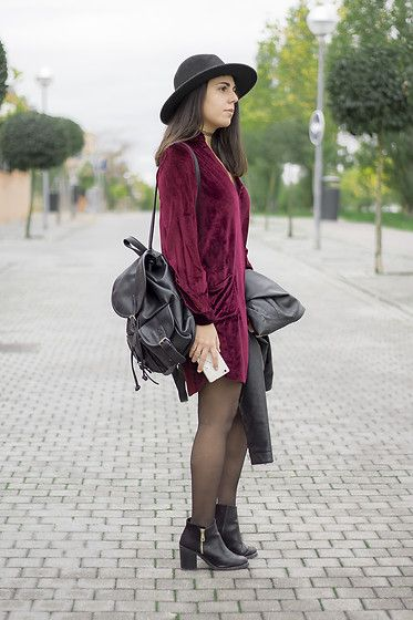 Elsa Gervasi - Zara Hat, Zaful Dress, Local Store Bag, Lefties Biker, Stradivarius Booties - Velvet dress