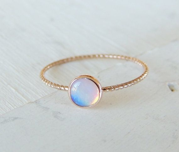Opal Ring Opal Gold Ring Glowing Opal Ring 14k Gold by Luxuring