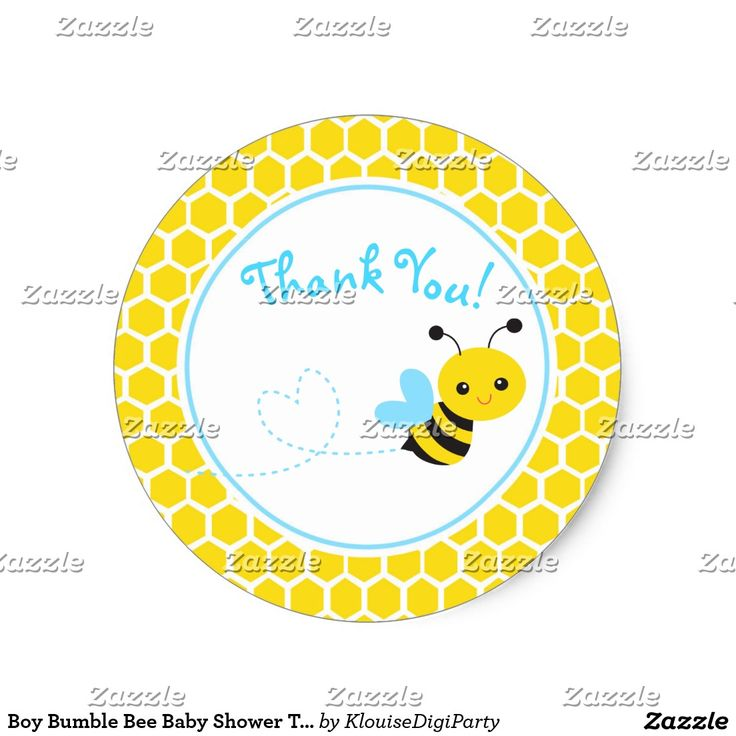 Boy Bumble Bee Baby Shower Thank You Classic Round Sticker