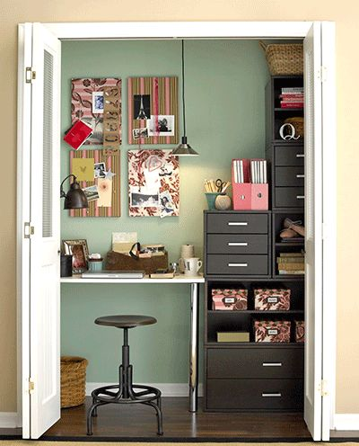Closet Turned Office Area                     http://www.re-nest.com/re-nest/shelving-storage/15-repurposed-upcycled-and-diy-storage-ideas-108206